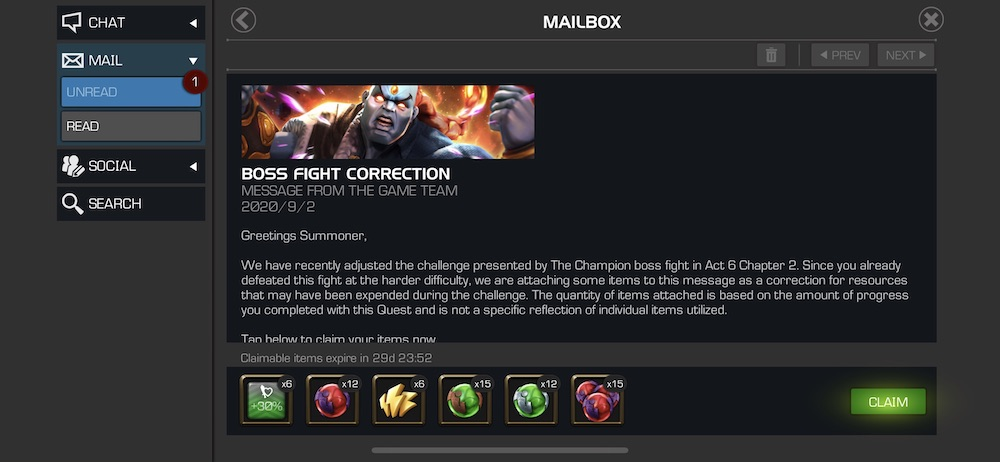 Act 6.2.6 (The Champion Boss) Compensation is Here